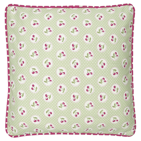 GreenGate Kissen Cherry berry pale green 40x40