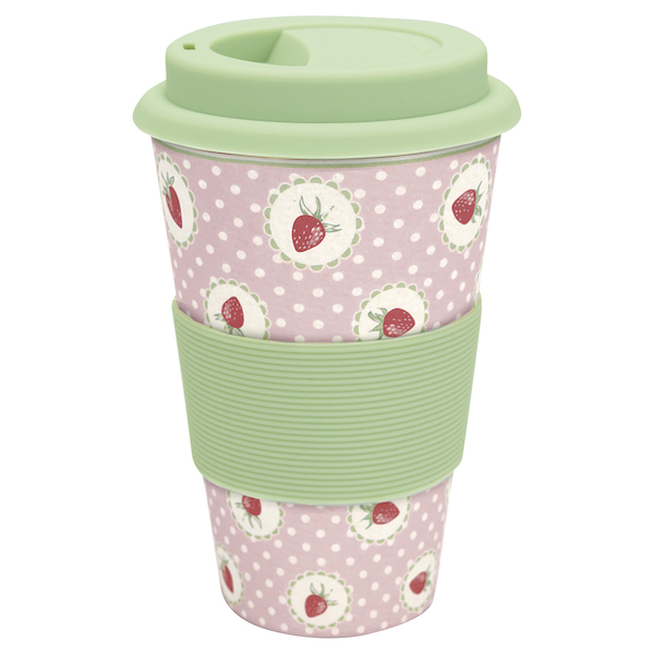 GreenGate Reisebecher, Strawberry pink