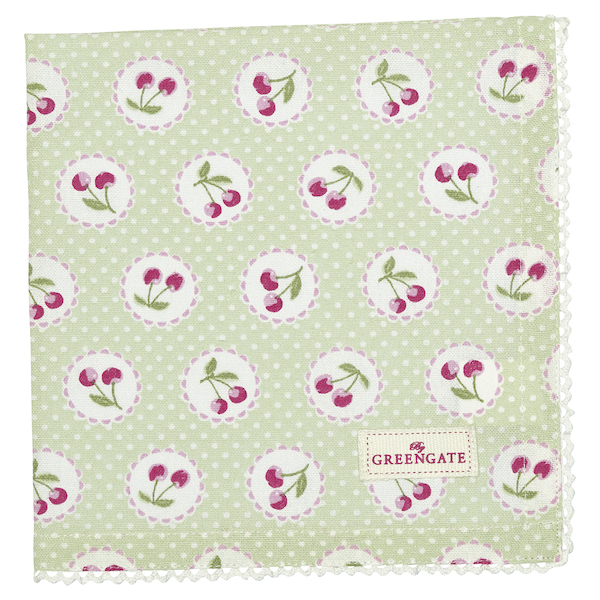 GreenGate Serviette Cherry berry pale green