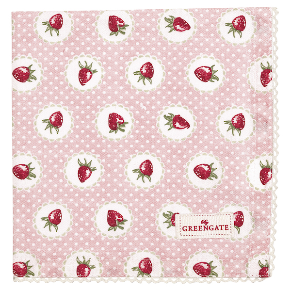 GreenGate Serviette Strawberry pale pink