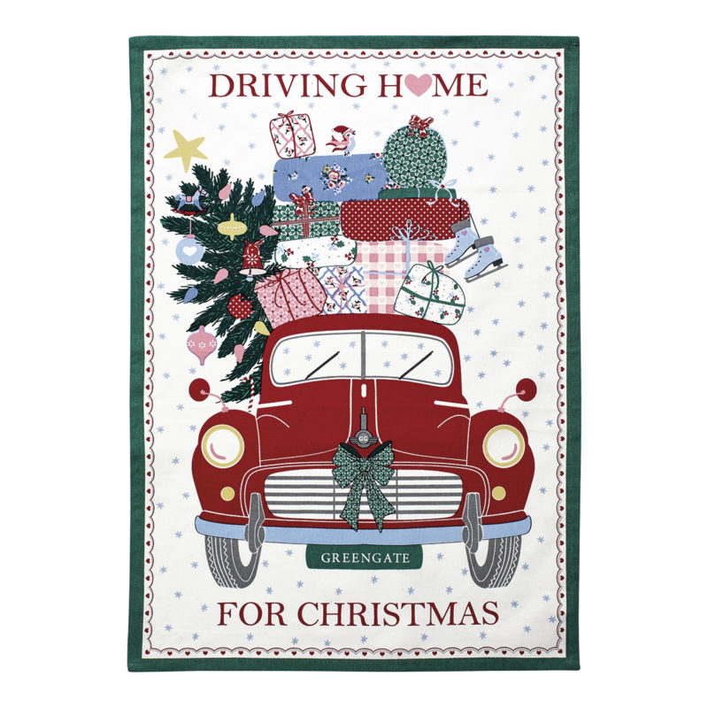 GreenGate Geschirr- und Tischtuch, Christmas car red