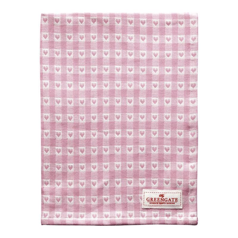 GreenGate Geschirr- und Tischtuch, Heart petit pale pink