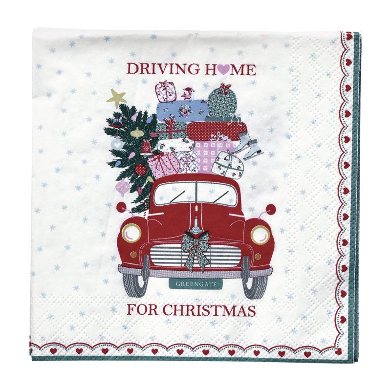 GreenGate Servietten, Christmas Car red